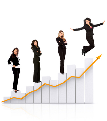business women on a chart isolated over white